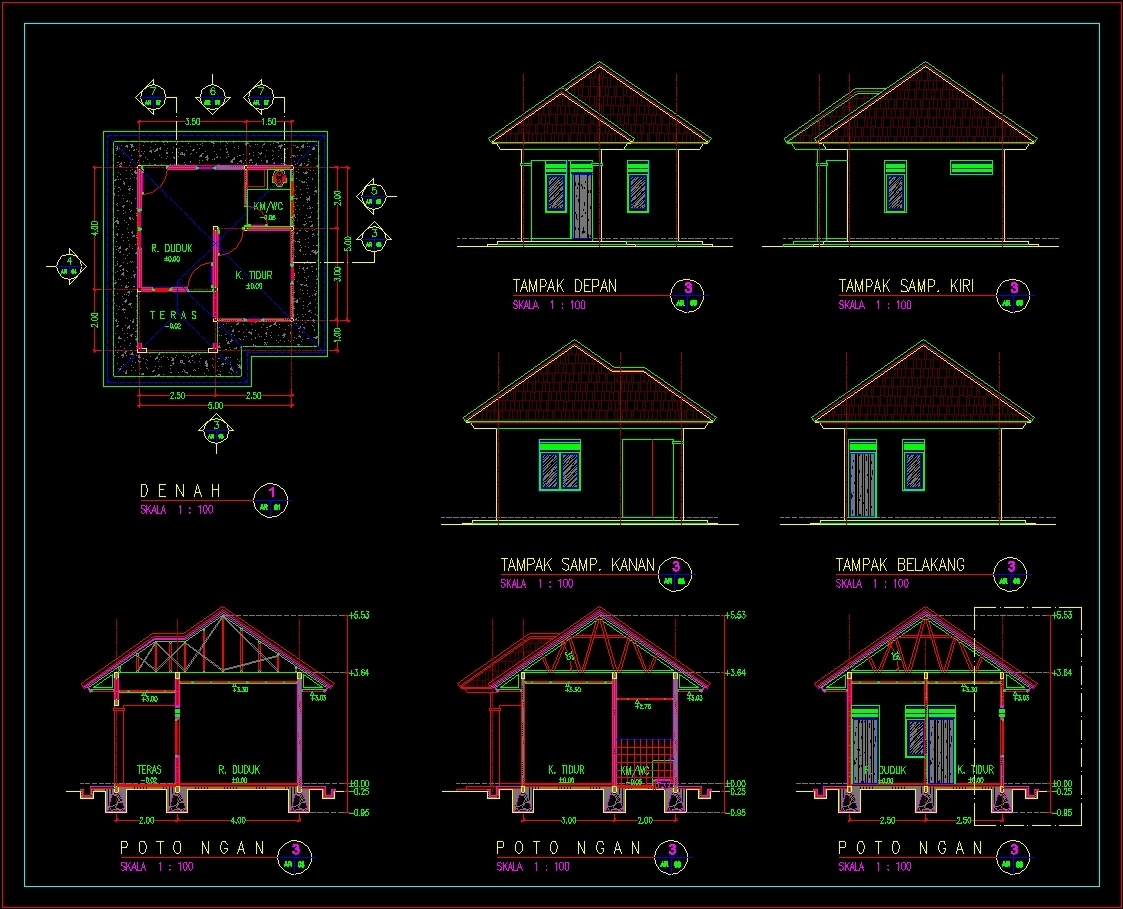 Security guard house dwg block for autocad designs cad for Cad house