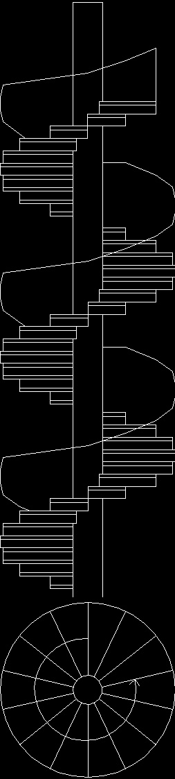 Spiral Stair Plan And Elevation DWG Plan for AutoCAD