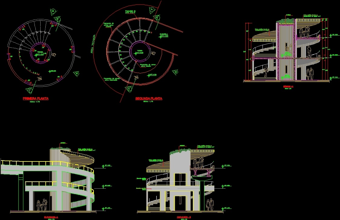 Spiral staircase caracol dwg block for autocad designscad for Spiral staircase dwg