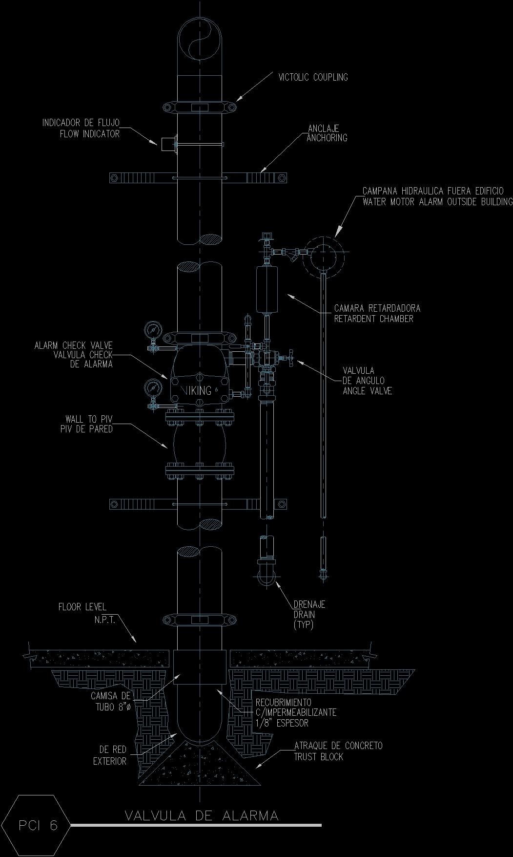 Sprinkler Network Riser Automatic Dwg Detail For Autocad