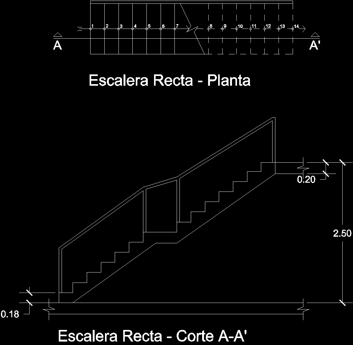 Straight Staircase; With Rest DWG Plan For AutoCAD