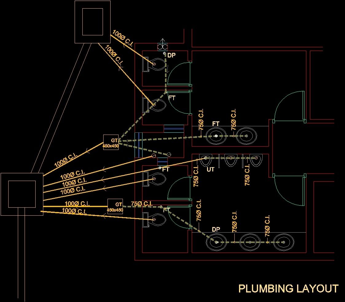 Toilet Plumbing DWG Block For AutoCAD O Designs CAD