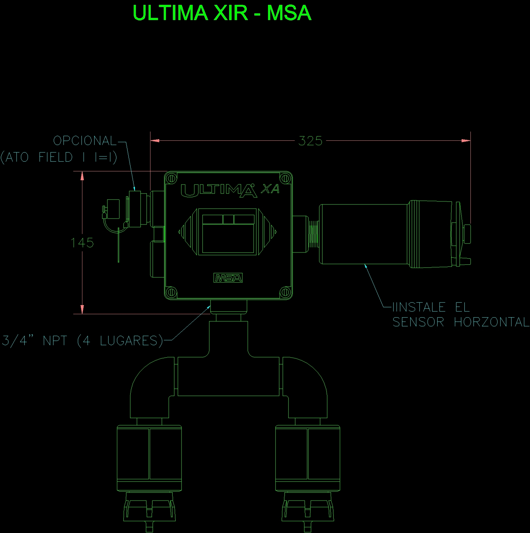 Ultima Xir Msa, Infrared Gas Monitor DWG Block For AutoCAD