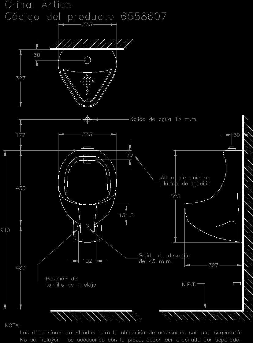 Urinal Dwg Section For Autocad Designs Cad