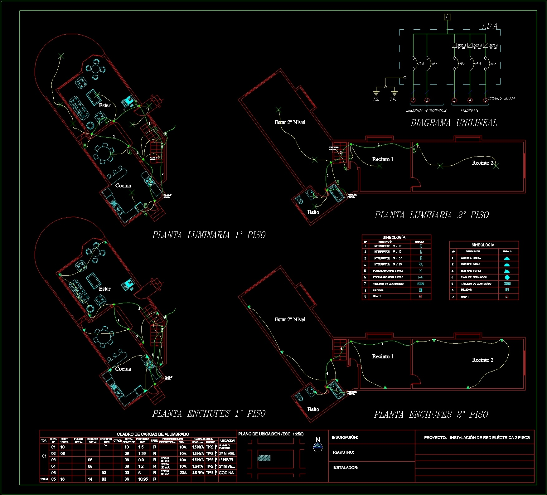 Circuito Unilineal : Wiring plan lights and outlets dwg plan for autocad u2022 designs cad