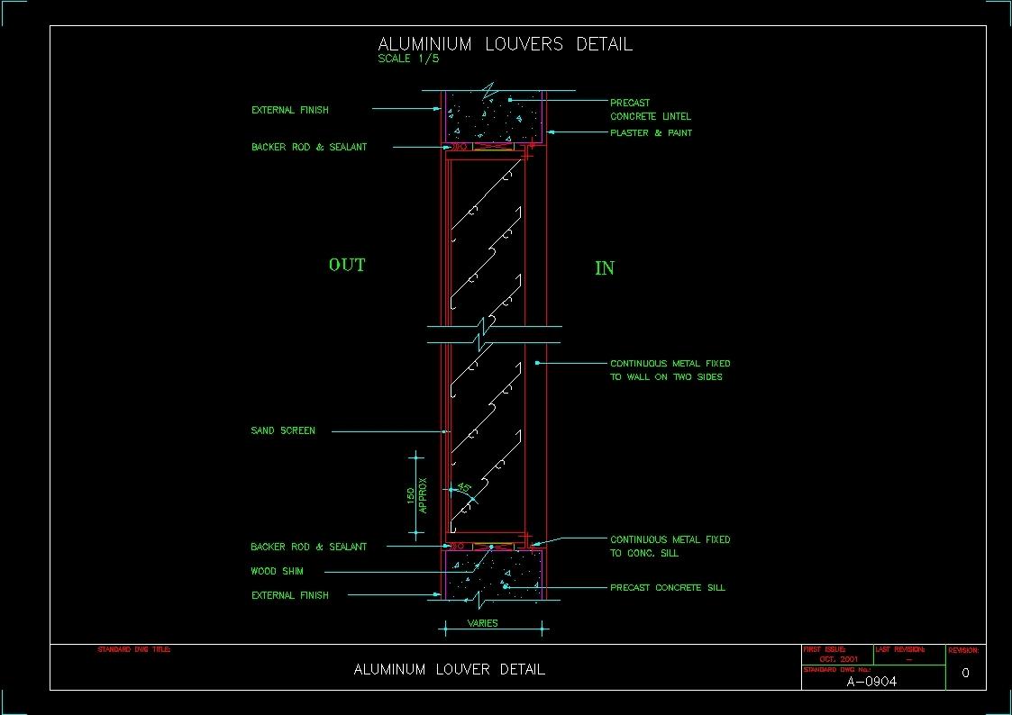 Aluminum Louver Detail Dwg Detail For Autocad Designscad