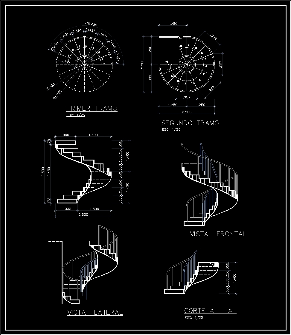 Concrete Spiral Staircase Dwg Block For Autocad Designs Cad