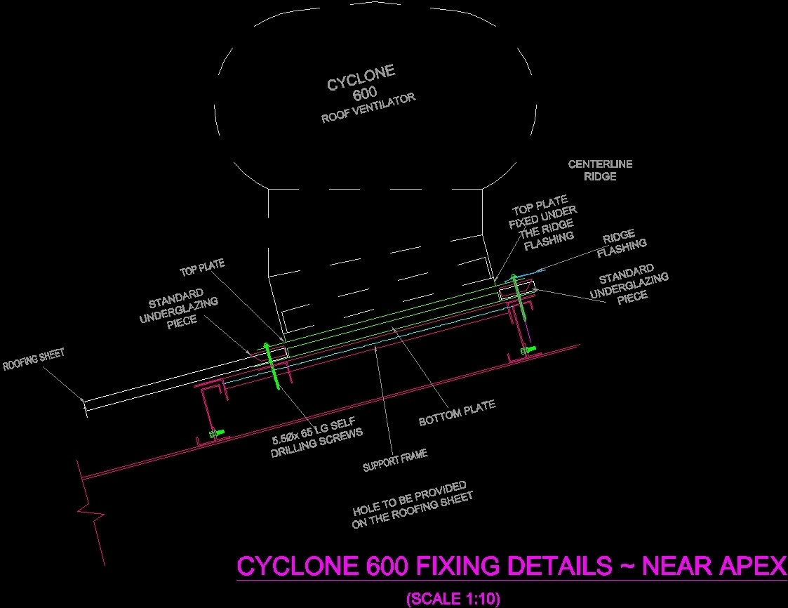 Cyclone 600 Roof Ventilator Installation Dwg Detail For