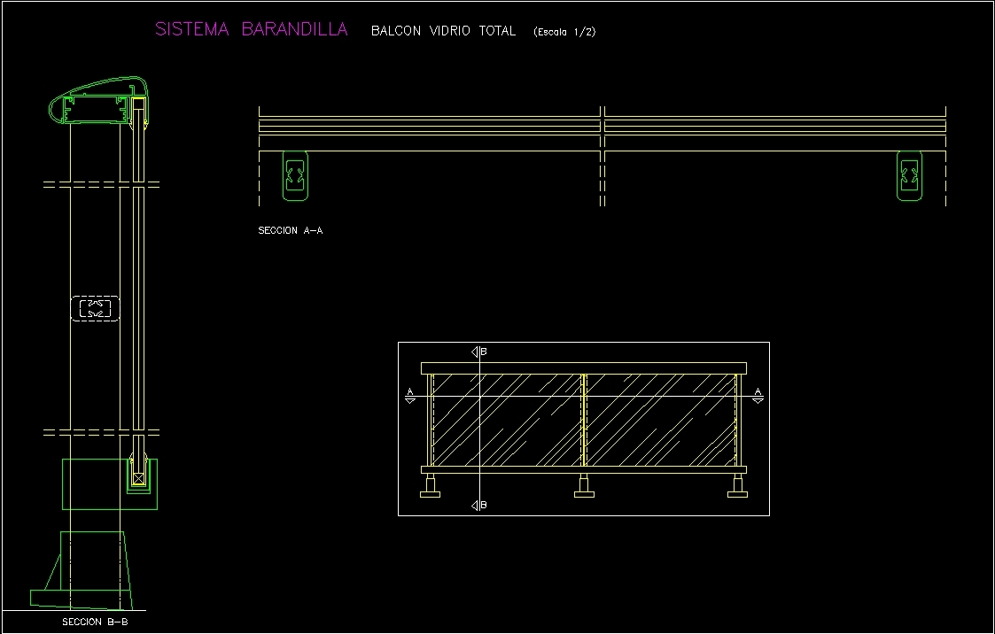 Detail Glass Railway Dwg Detail For Autocad Designs Cad