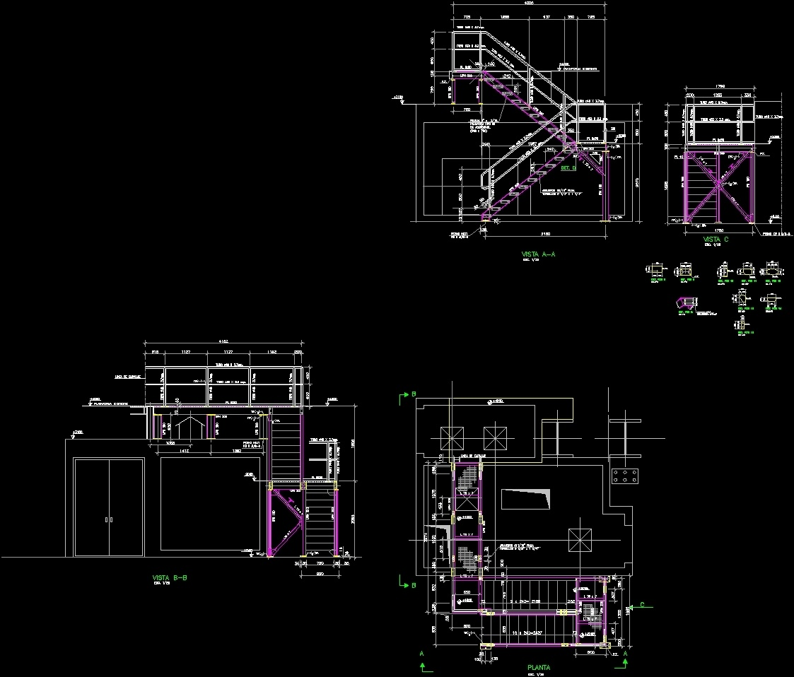 Detail Metal Staircase Dwg Detail For Autocad Designs Cad