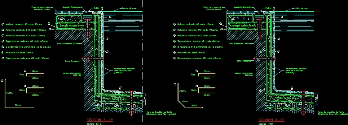 Detail of pool 39 s overflow dwg detail for autocad designs cad for Swimming pool overflow detail dwg