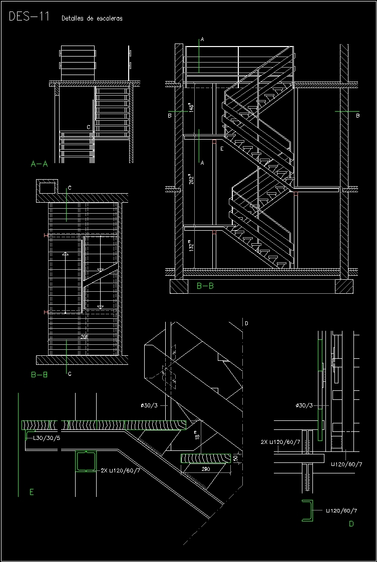 Detail Stairway In Zig – Zag DWG Section for AutoCAD