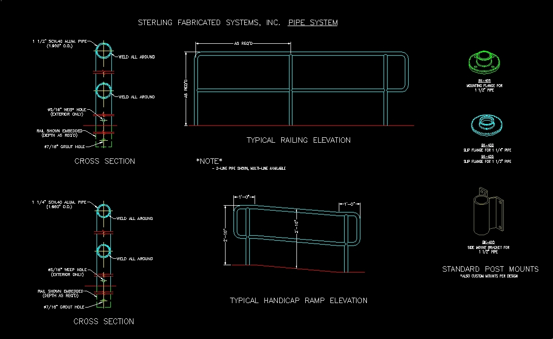 Details Railings Of Handrails Dwg Detail For Autocad
