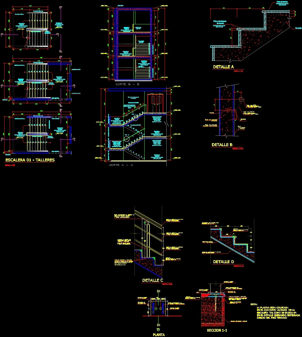 Double-L Stair DWG Detail For AutoCAD • Designs CAD