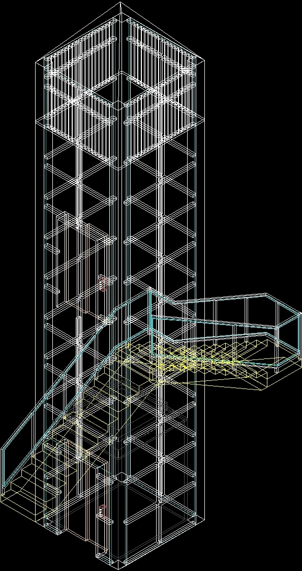Elevator With Stair Around 3D DWG Model for AutoCAD