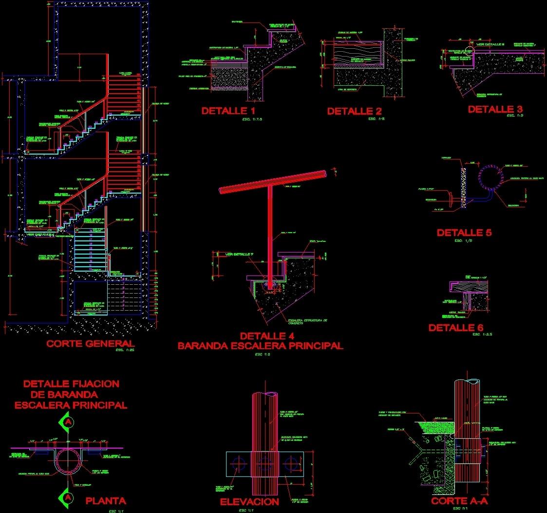 Ferro-Concrete Stair Details DWG Detail For AutoCAD