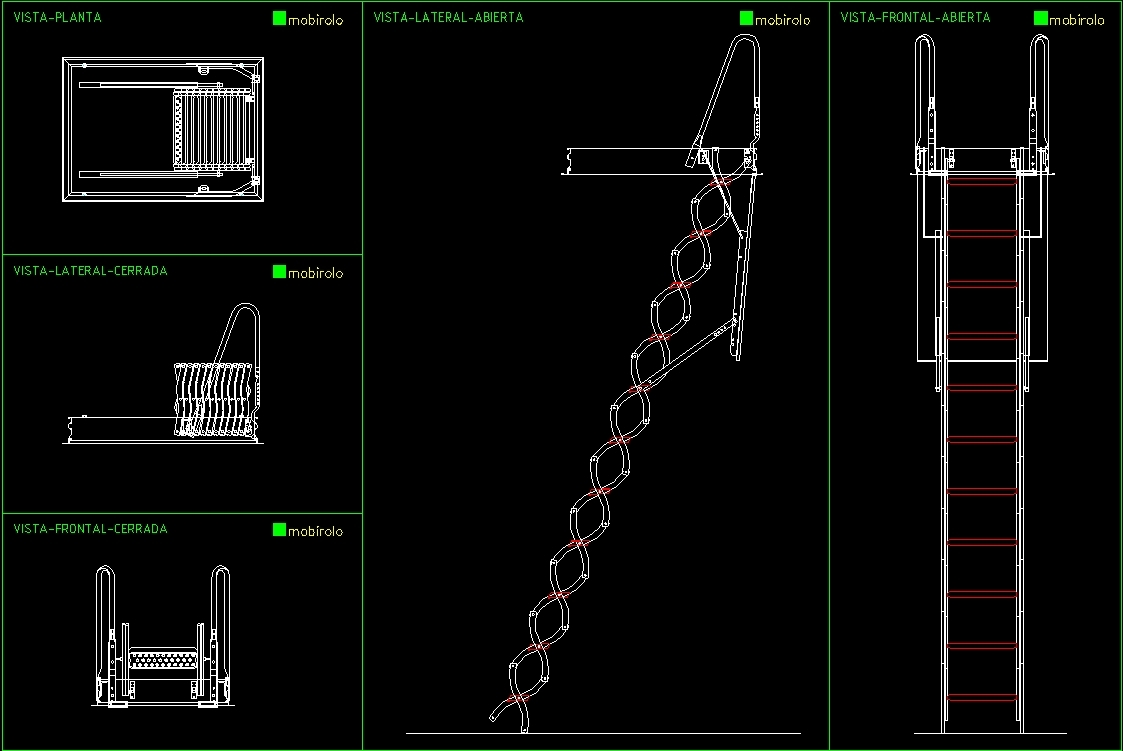 Folding Stairway DWG Section for AutoCAD • Designs CAD