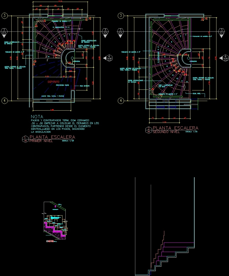 Half Circular Stairway DWG Detail For AutoCAD