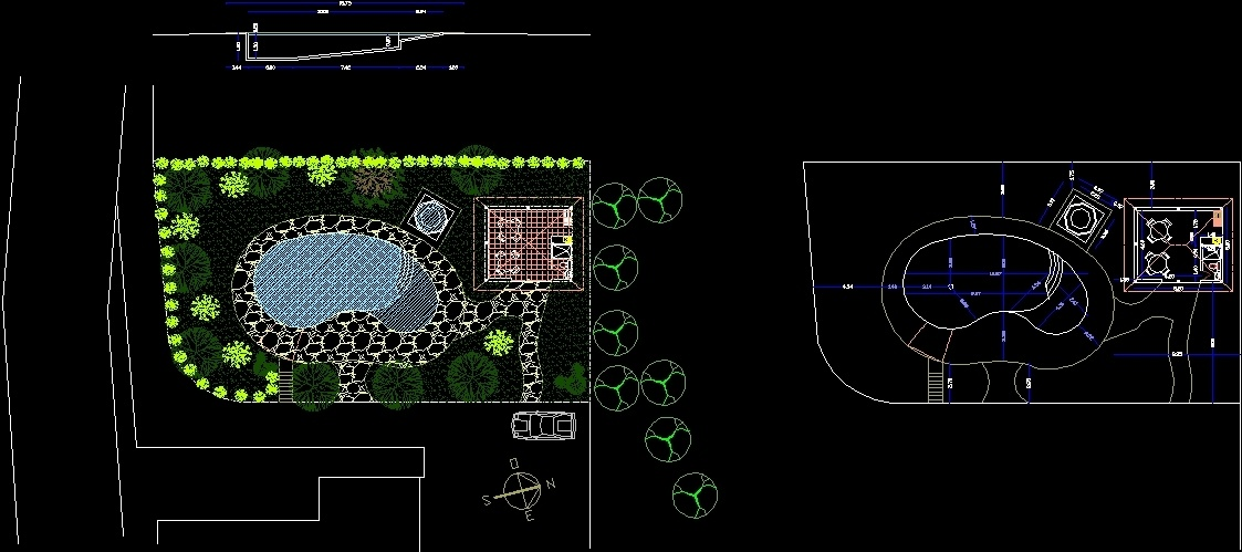 Kidney Swimming Pool Dwg Section For Autocad Designs Cad