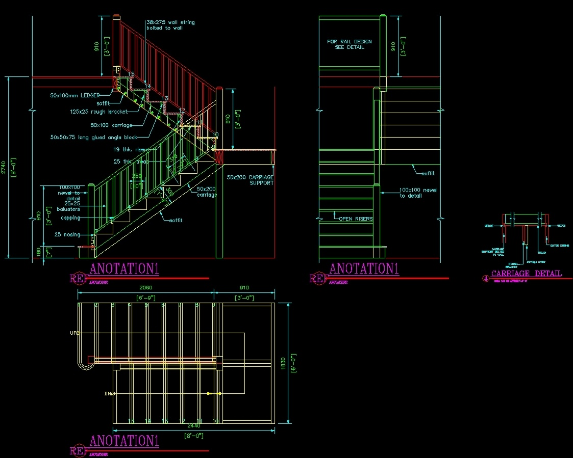 Ladder Two Sections Dwg Section For Autocad Designs Cad