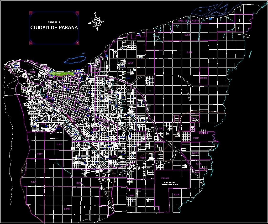 Map Parana City Entre Rios Argentina New Districts Dwg Plan  # Muebles Jozami Paran? Entre R?os