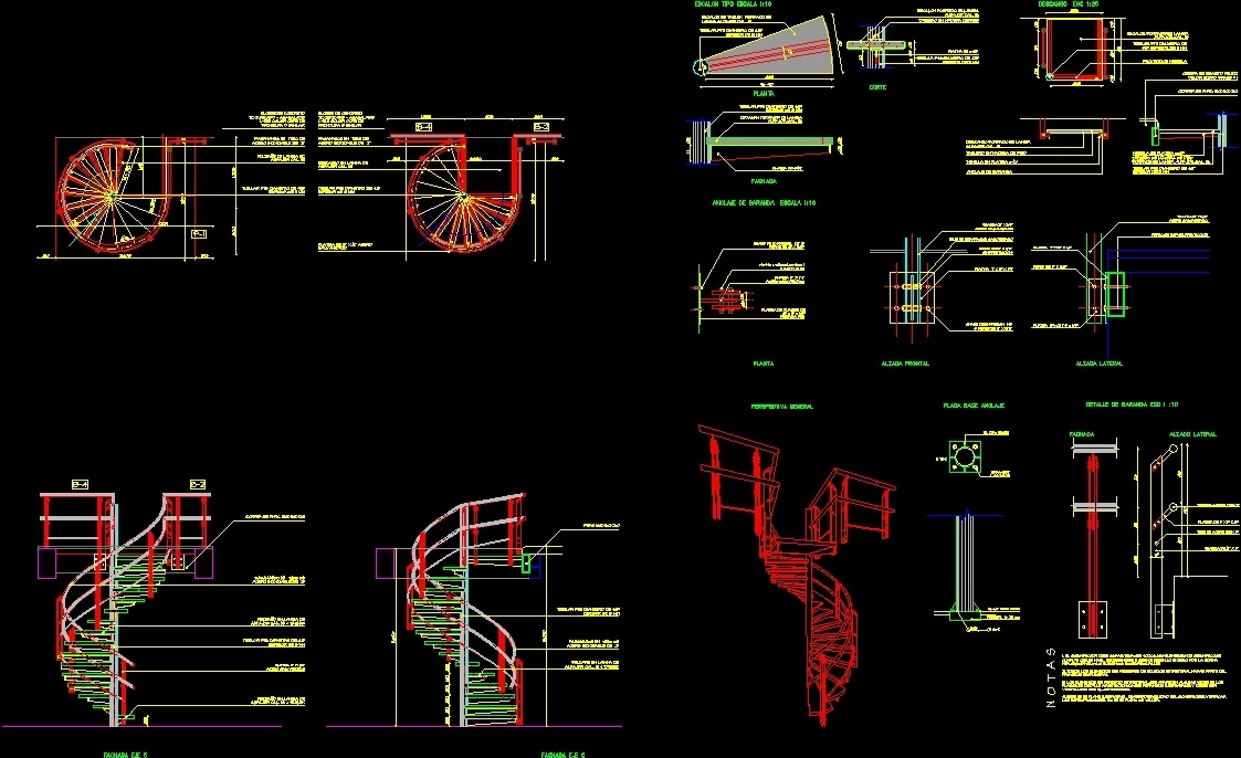 Metallic spiral staircase dwg detail for autocad designscad for Spiral stair dwg