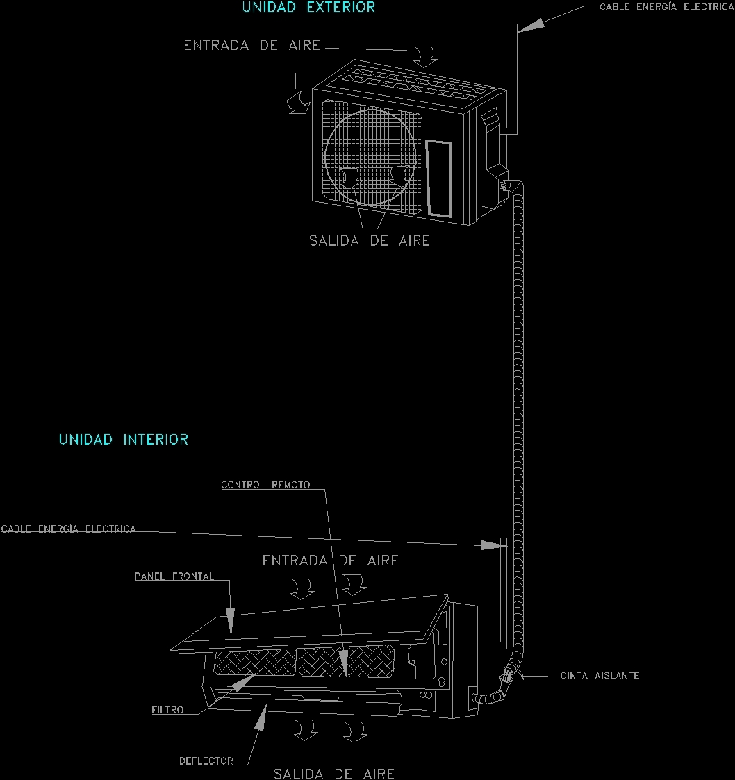 Minisplit air conditioner dwg detail for autocad designs cad for File cad di casa
