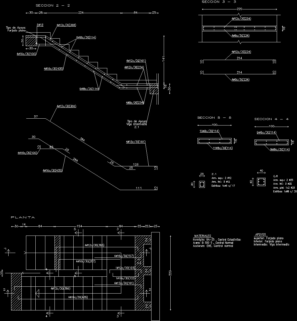 Reinforced Concrete Stair DWG Detail For AutoCAD
