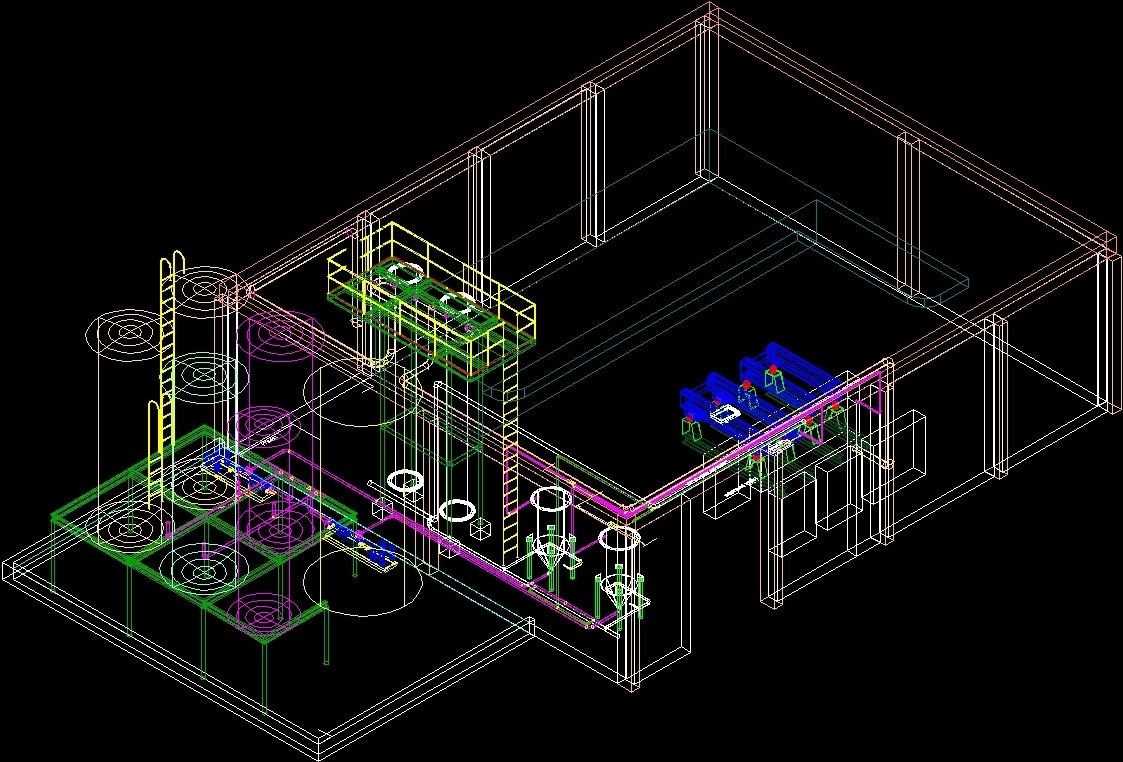 Schematic Oil Processing Plant And Fish Meal 3D DWG Detail
