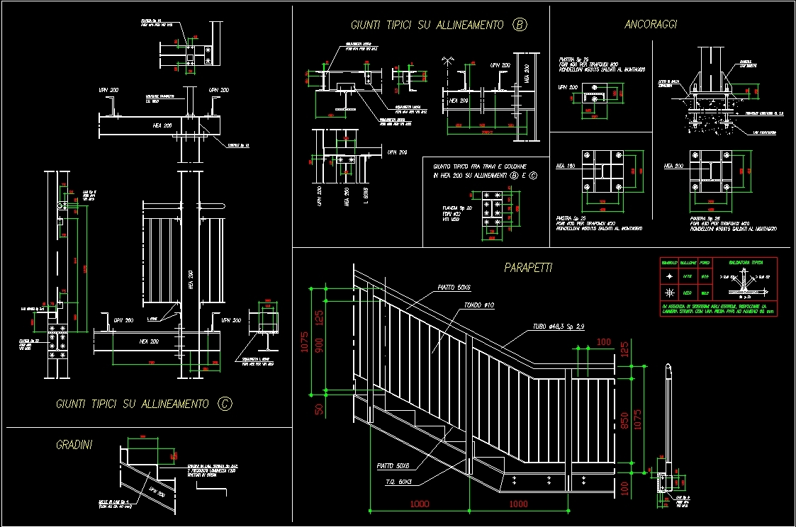 Security Steel Stairway With Construction Details Dwg