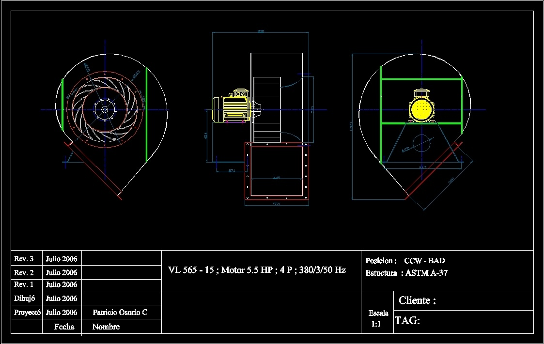 Single Inlet Centrifugal Fan Dwg Block For Autocad