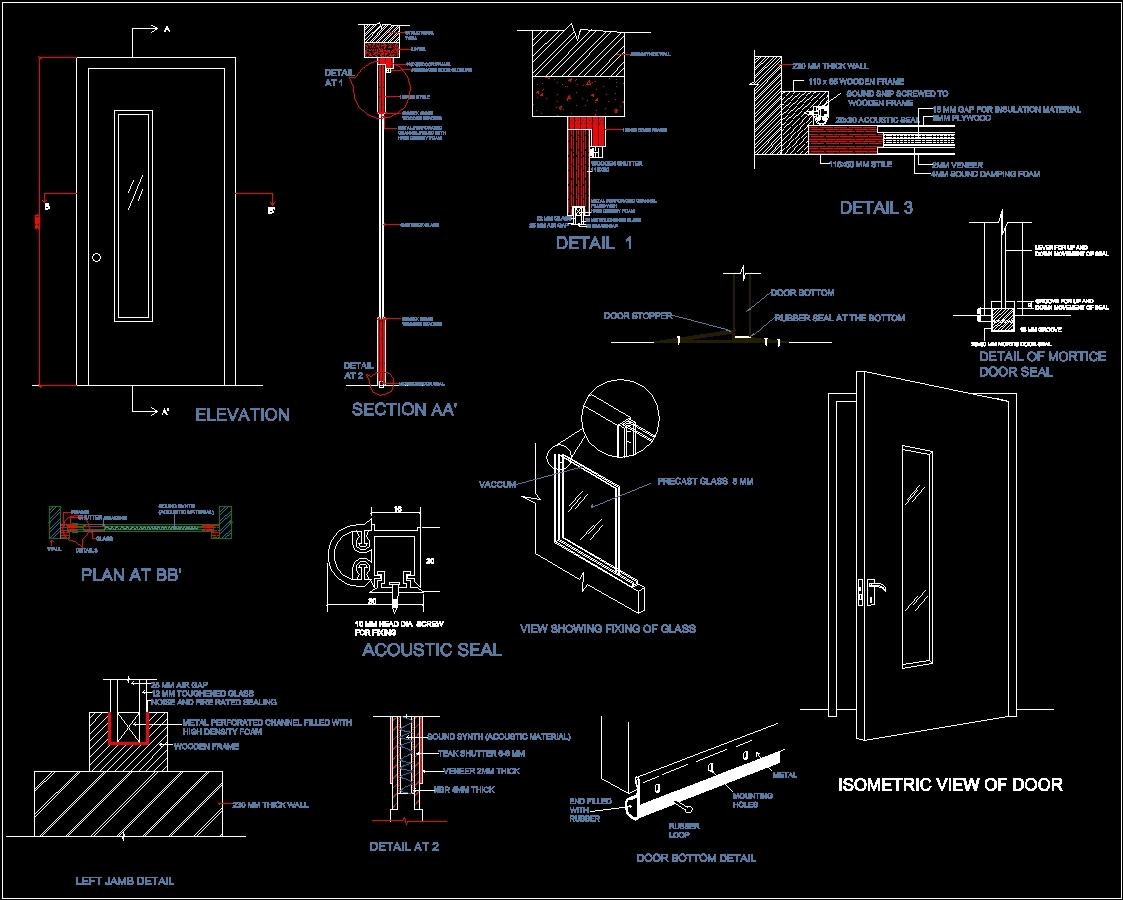 Sound Proof Door Dwg Section For Autocad Designscad