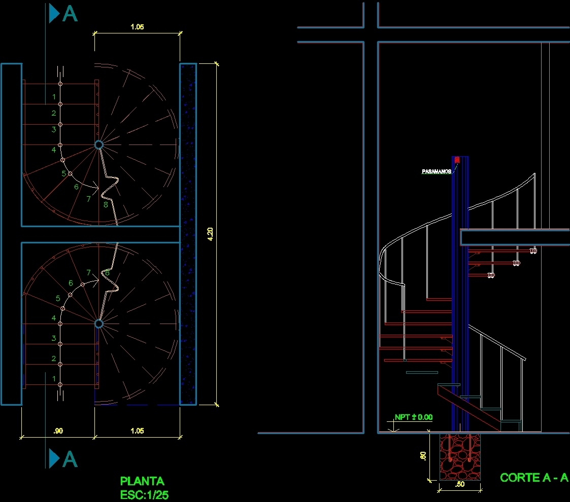 Spiral staircase dwg block for autocad designs cad for Spiral stair details