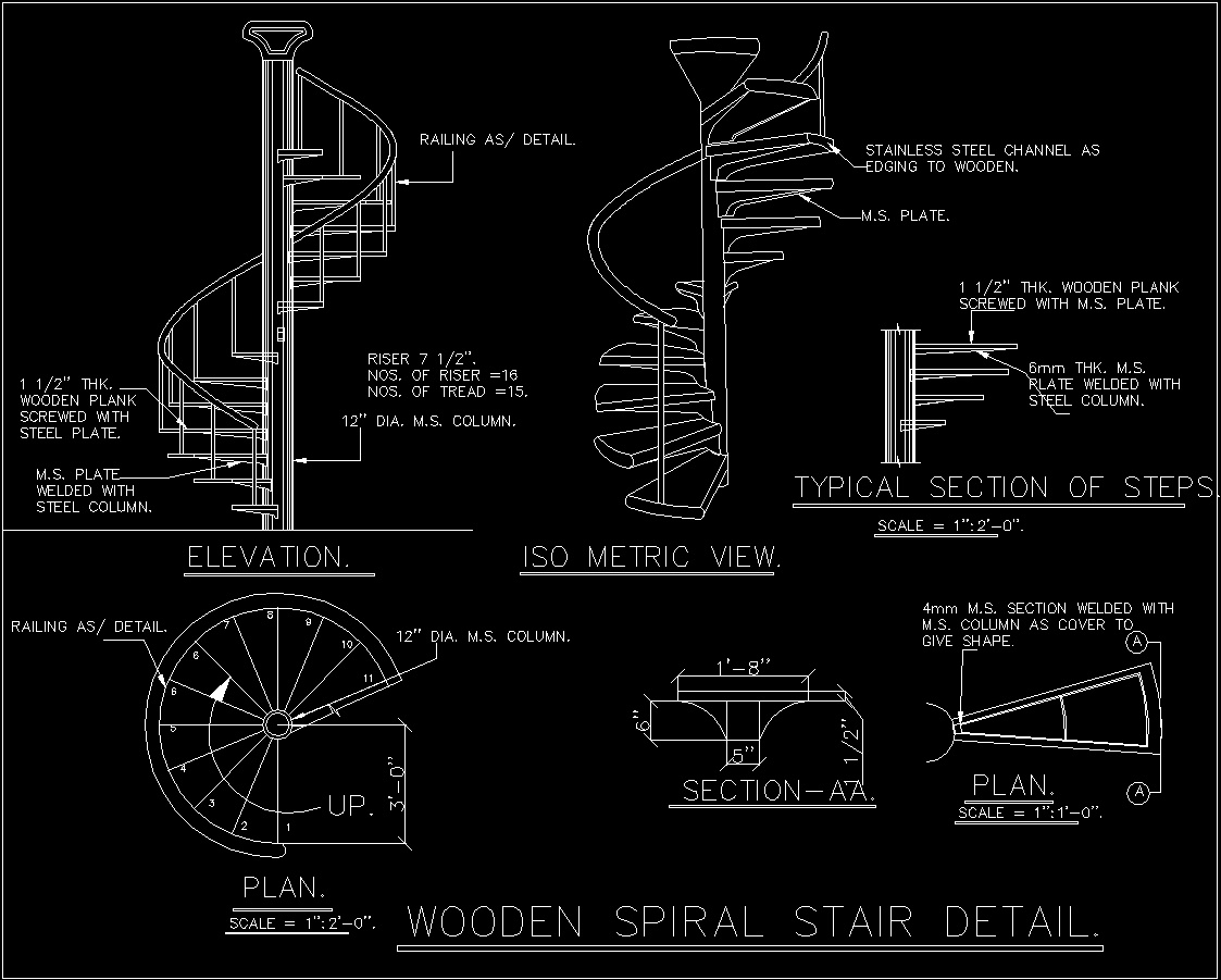 Spiral Staircase Dwg Section For Autocad Designs Cad