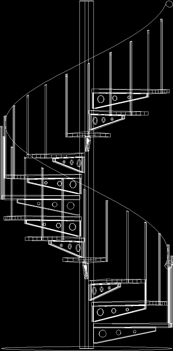 Spiral stairs 3d dwg model for autocad designscad for Spiral staircase dwg