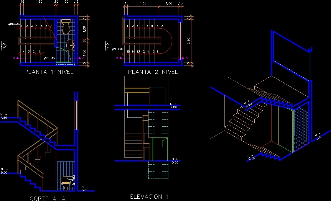 Stair Case And Half Bathroom Dwg Block For Autocad