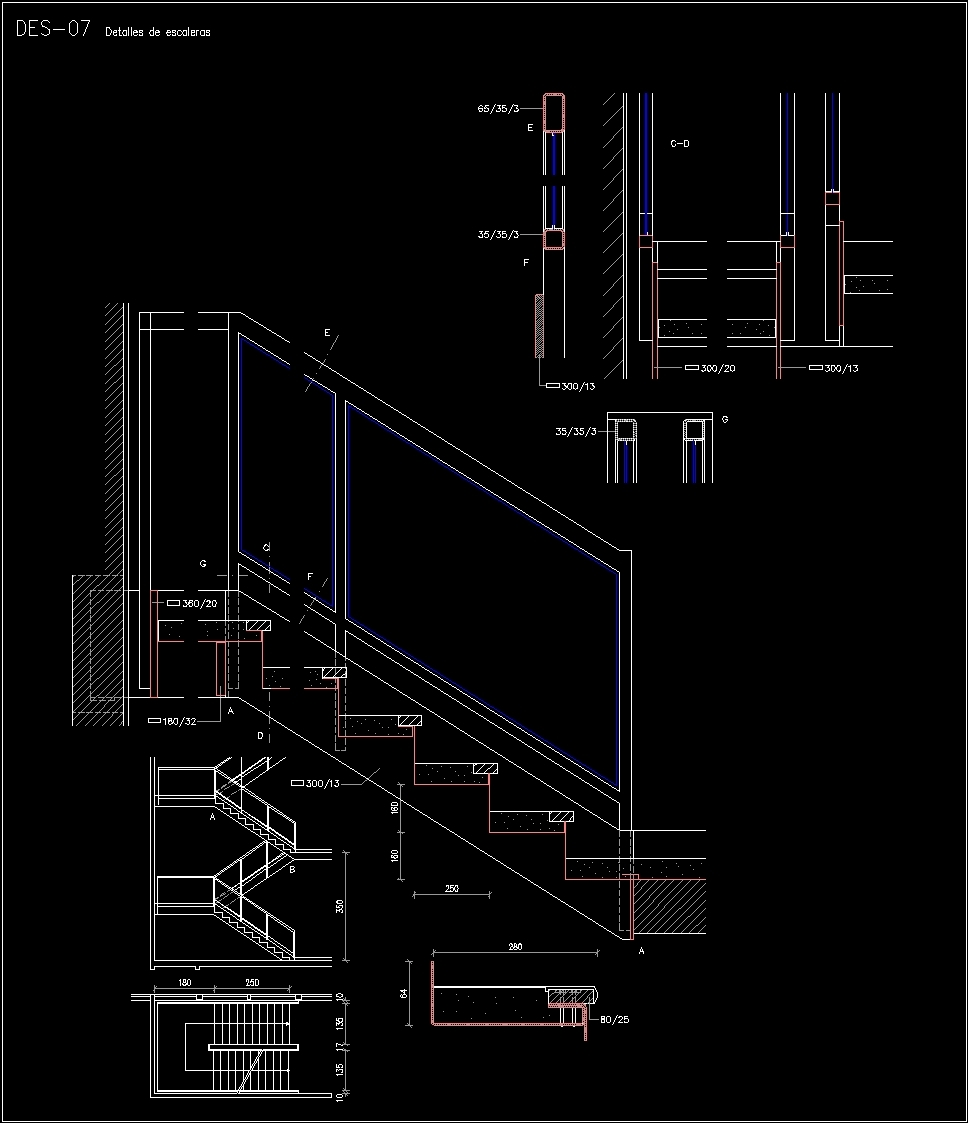 Stair Railing Detail DWG Detail for AutoCAD