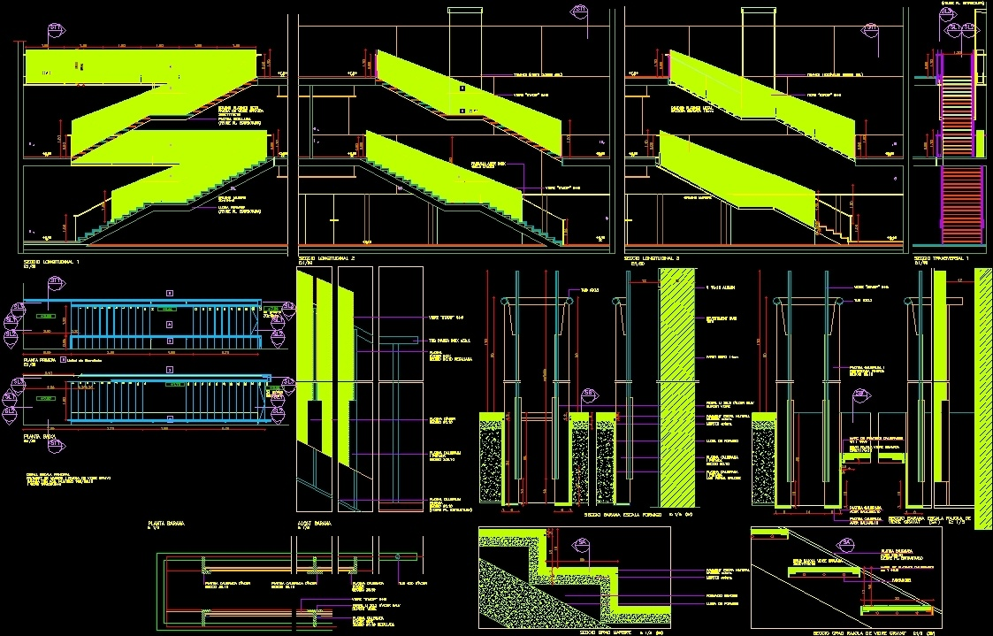 Stair With Glass Handrail DWG Section for AutoCAD ...
