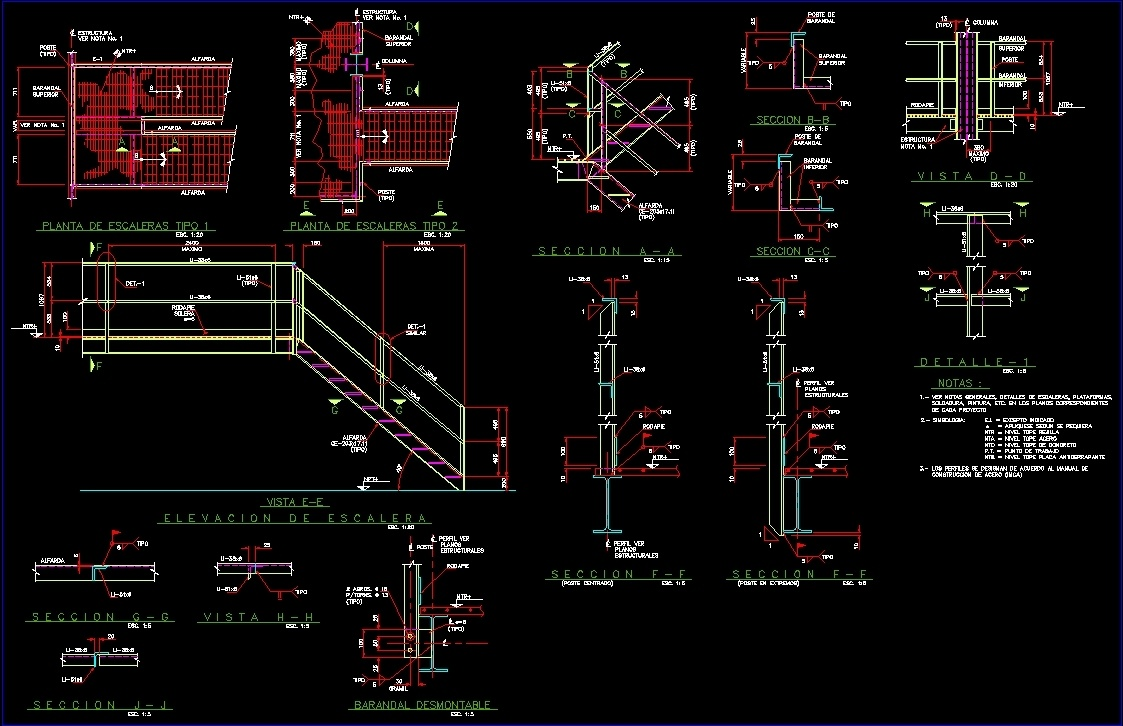 Steel Handrail DWG Block for AutoCAD