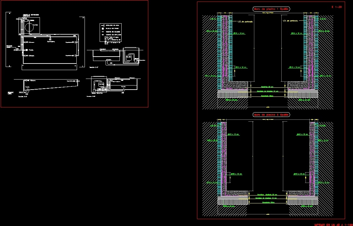 Swimming Pool Wall Details Dwg Detail For Autocad Designscad