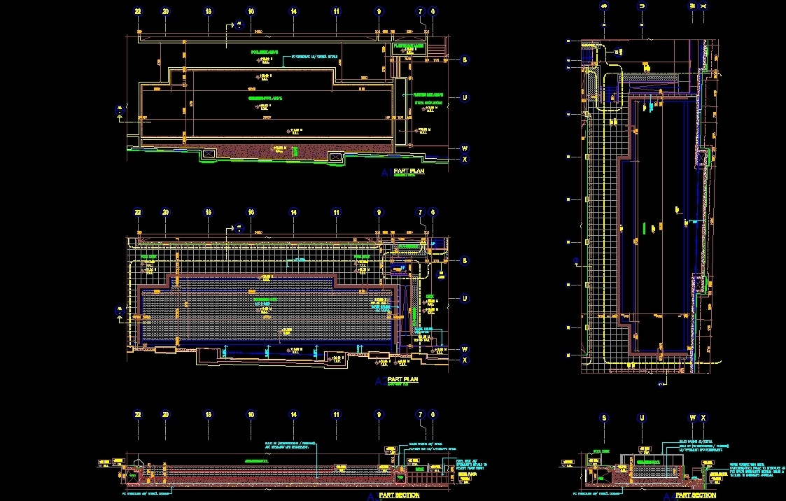 Swimming pool and details dwg detail for autocad designs cad for Pool design details