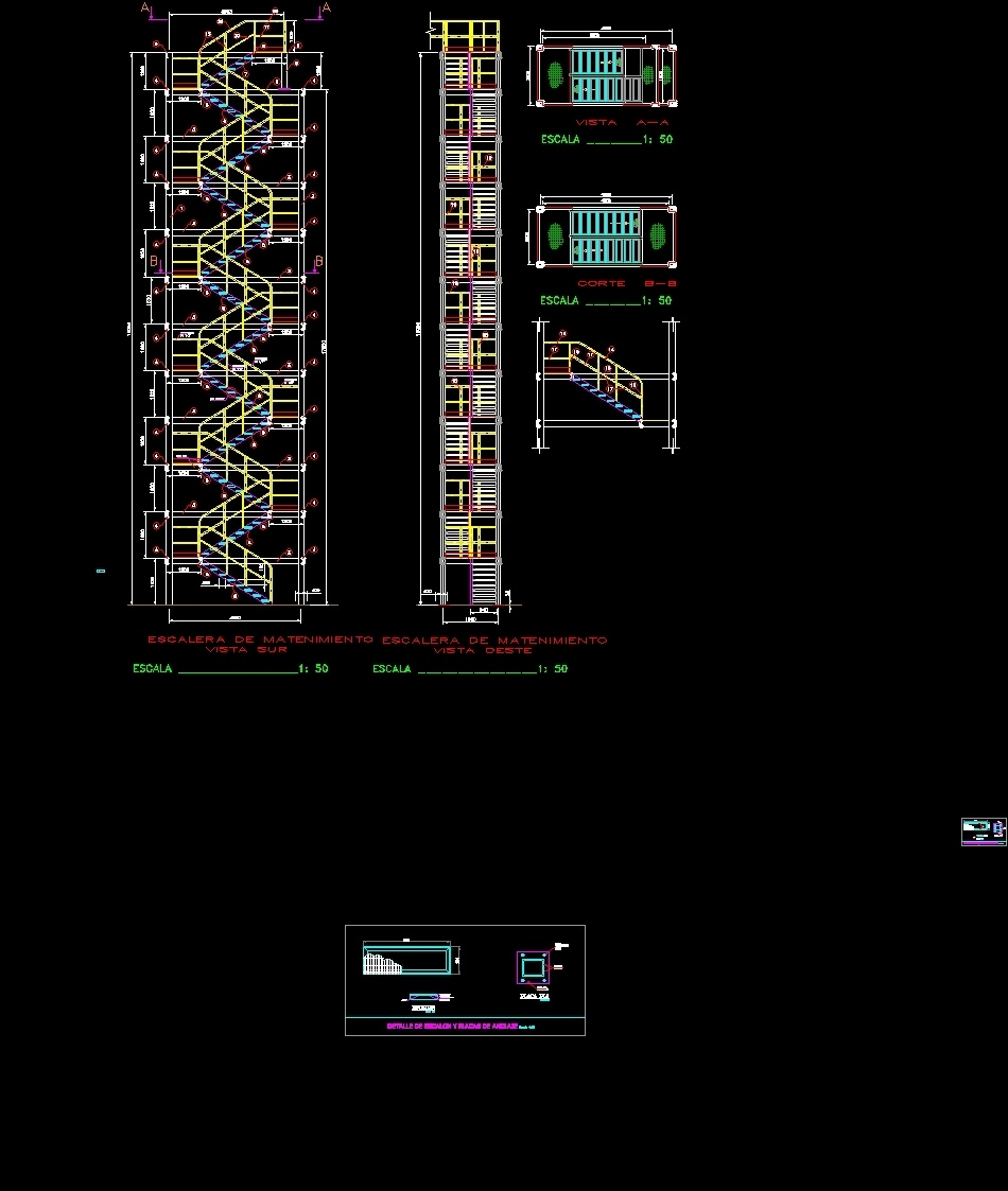 Tower Stairs DWG Detail For AutoCAD