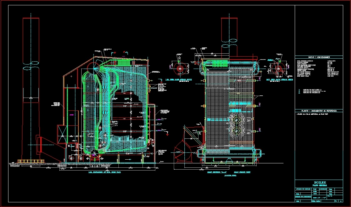 tube water boiler  450 psig dwg block for autocad
