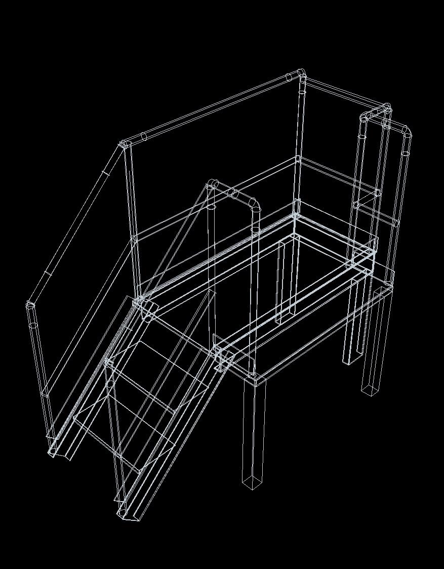 Two Step Platform Stair 3d Dwg Model For Autocad Designs Cad