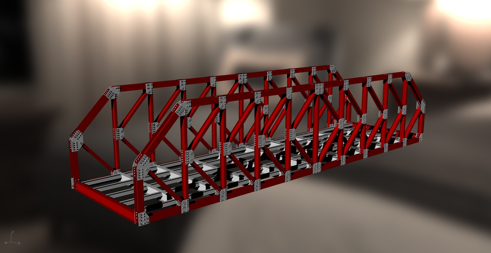 Steel Structure K Truss Bridge 3d Dwg Model For
