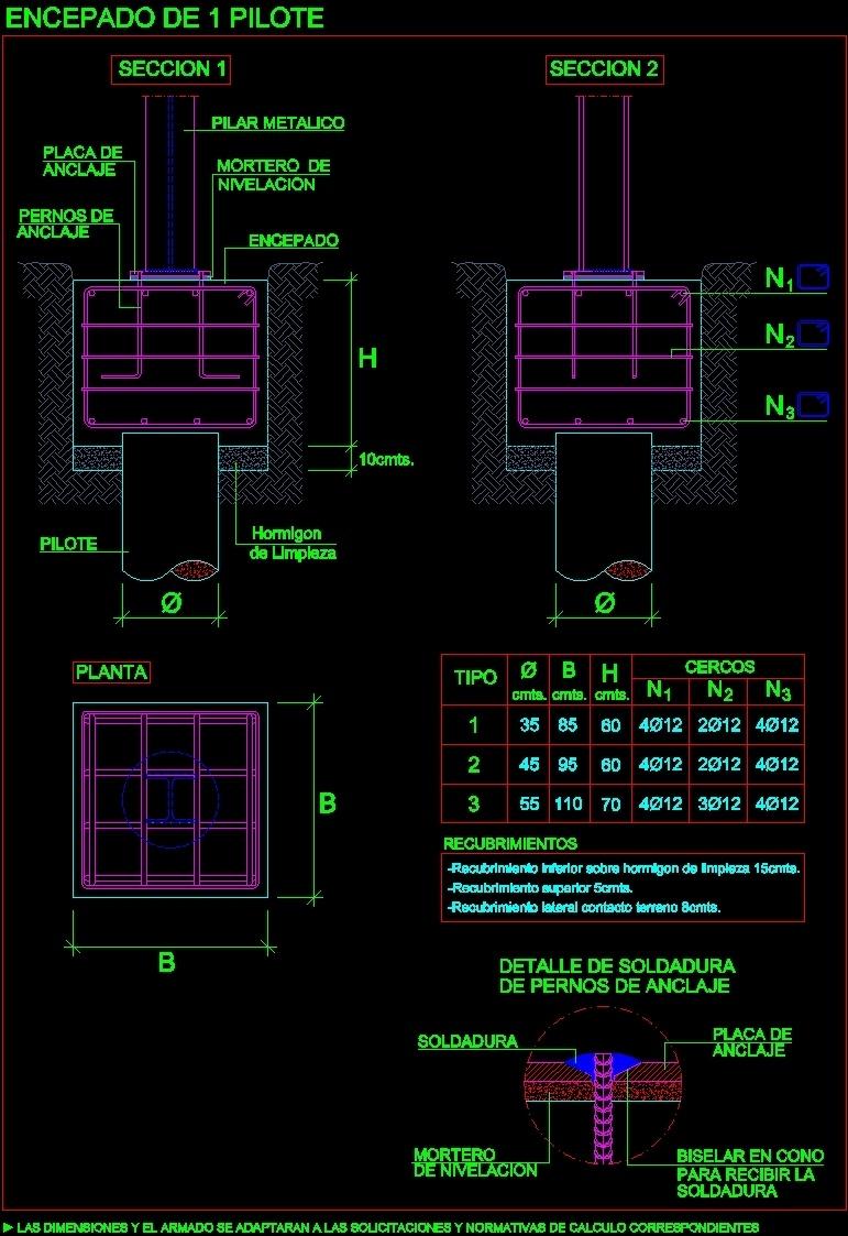 Battery Pile Cap DWG Detail for AutoCAD
