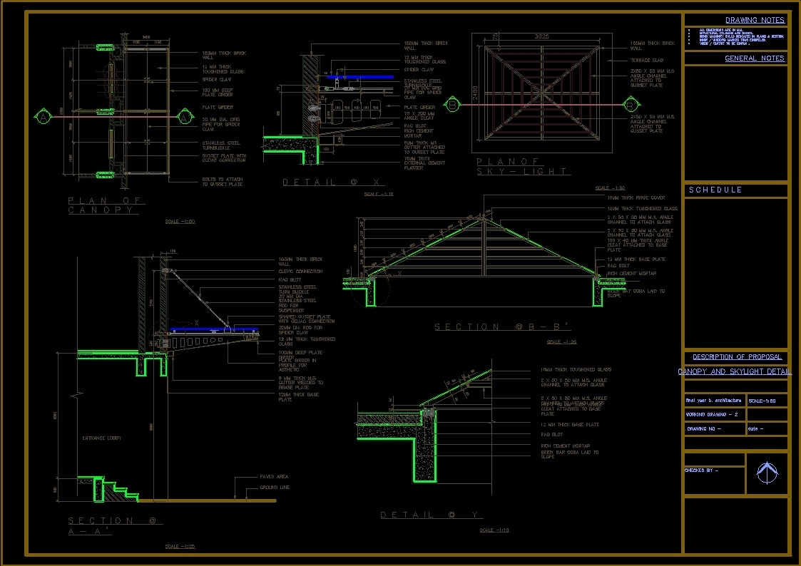 Canopy And Skylight Detail Dwg Detail For Autocad