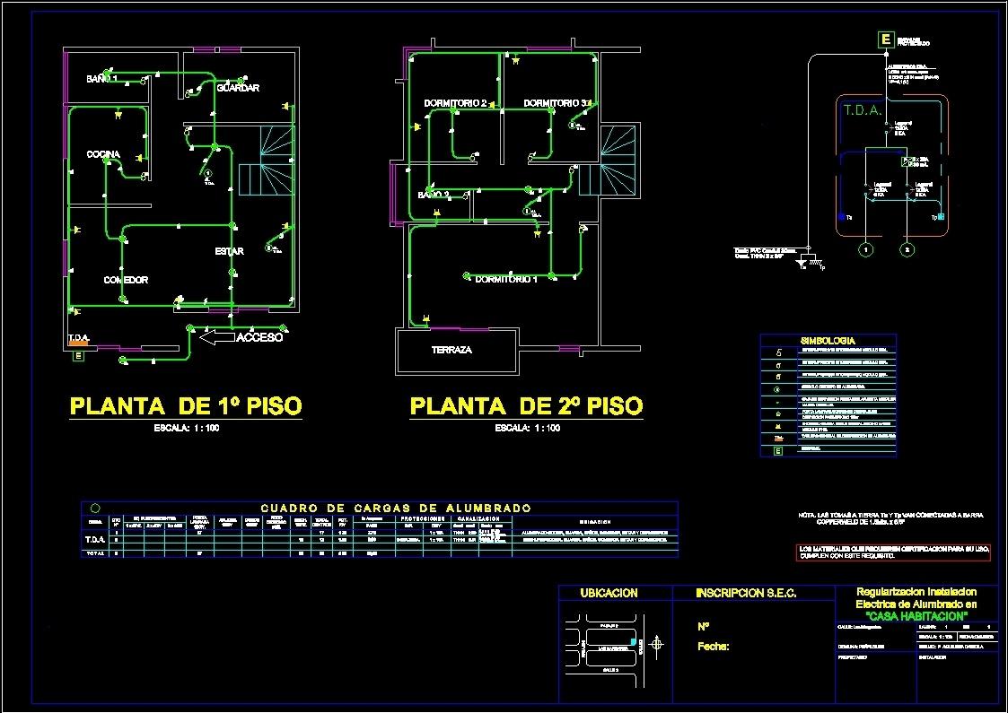 Casa habitaci n instalaci n el ctrica dwg block for for Habitacion 3d autocad