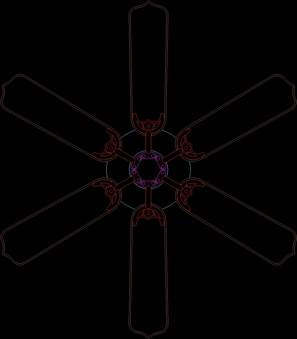 Ceiling Fan 6 Blades 2d Dwg Block For Autocad Designs Cad
