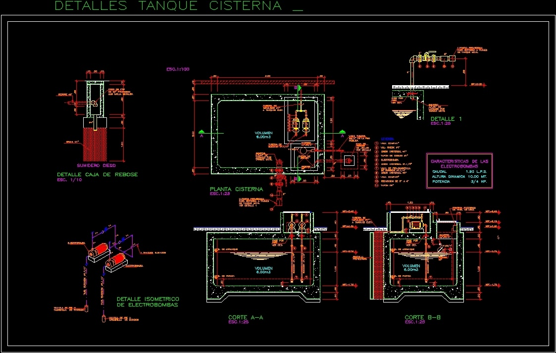 Cistern With Connection To Elevated Tank Dwg Detail For